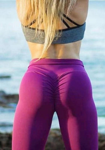 Purple Pleated Skinny High Waisted Sports Yoga Workout Long Legging