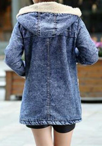Blue Patchwork Faux Fur Pockets Hooded Casual Going Out Cardigan Coat