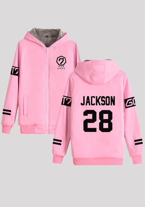 Pink Letter Zipper Long Sleeve Sweatshirt