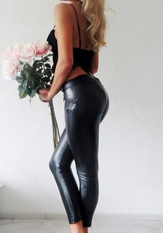 Black Pockets Buttons PU Leather Zipper Fashion Bodycon Long Pants