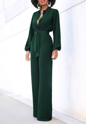 Green Sashes Buttons High Waisted Lantern Sleeve Christmas Party Wide Leg Long Jumpsuit