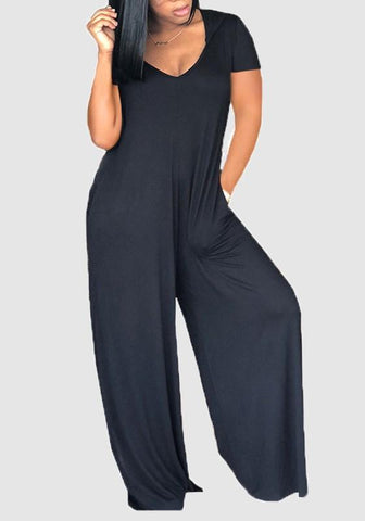 Black Pockets V-neck Casual Wide Leg Long Jumpsuit