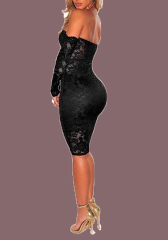 Black Floral Lace Backless Off Shoulder Bodycon Long Sleeve Party Midi Dress