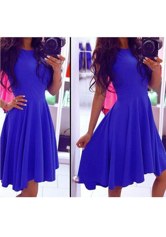 Blue Plain Irregular Draped Round Neck Midi Dress