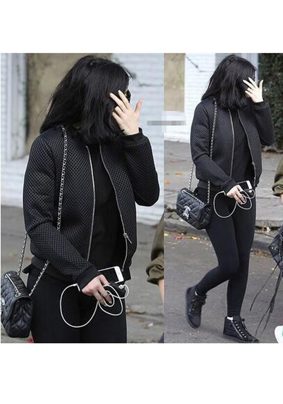 Black Patchwork Zipper Hollow-out Long Sleeve Fashion Coat