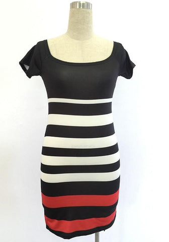 Black Striped Boat Neck Short Sleeve Midi Dress