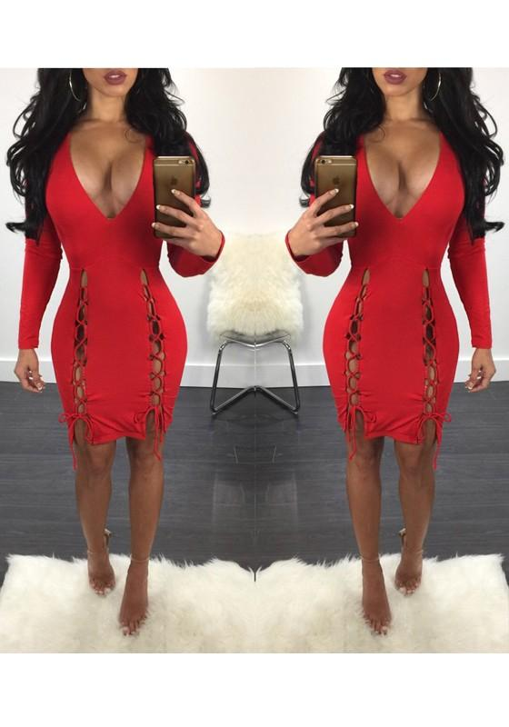 Red Drawstring Lace-up Prom Evening Party Plunging Neckline Polyester Midi Dress