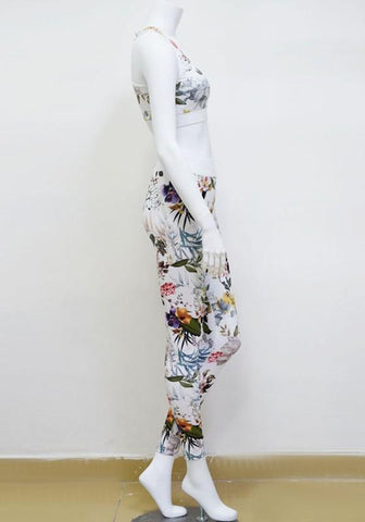 White Floral 2-in-1 Elastic Waist High Waisted Sports Yoga Long Jumpsuit