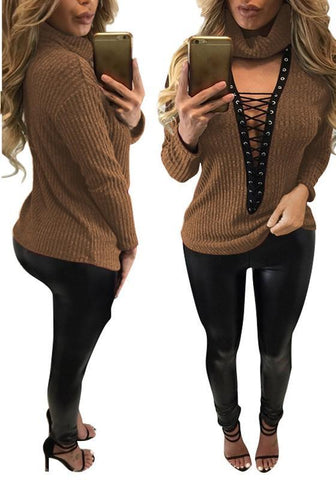 Camel Lace-up High Neck Cut Out Long Sleeve T-Shirt