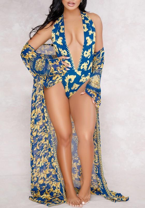 Blue Floral Cut Out Two-piece Halter Neck Sheer Long Sleeve Bikini Swimwear