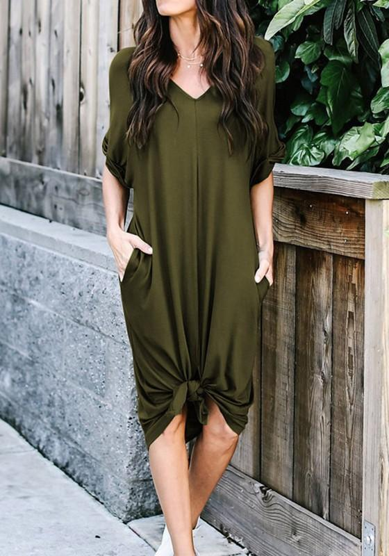 Green Pockets Irregular Ruffle V-neck Casual Midi Dress