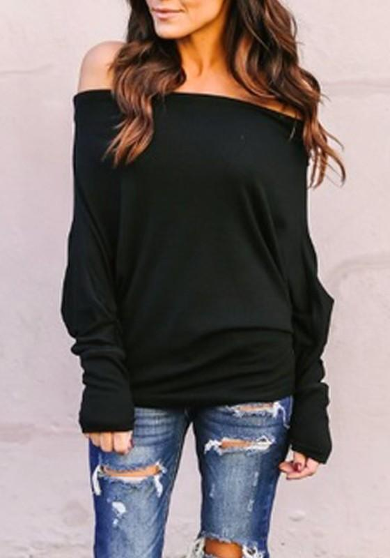 Black Off Shoulder Backless Going out Casual T-Shirt