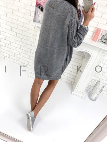 Grey Pockets Knitted Sweater Long Sleeve Casual Cardigan Coat