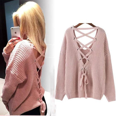 Pink Tie Back Cross Back Cut Out V-neck Pullover Sweater