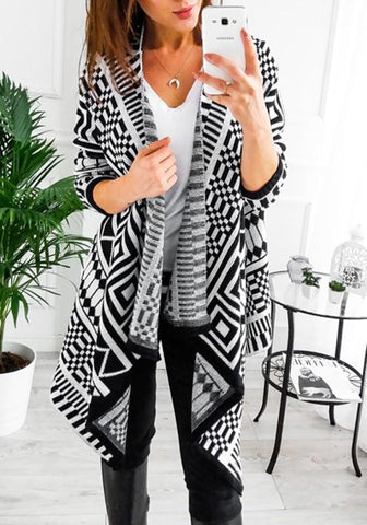 Black Geometric Irregular Turndown Collar Long Sleeve Casual Coat
