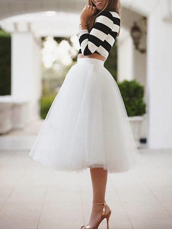 New Womens White Puffy Tulle Skirt Tutu Skirt
