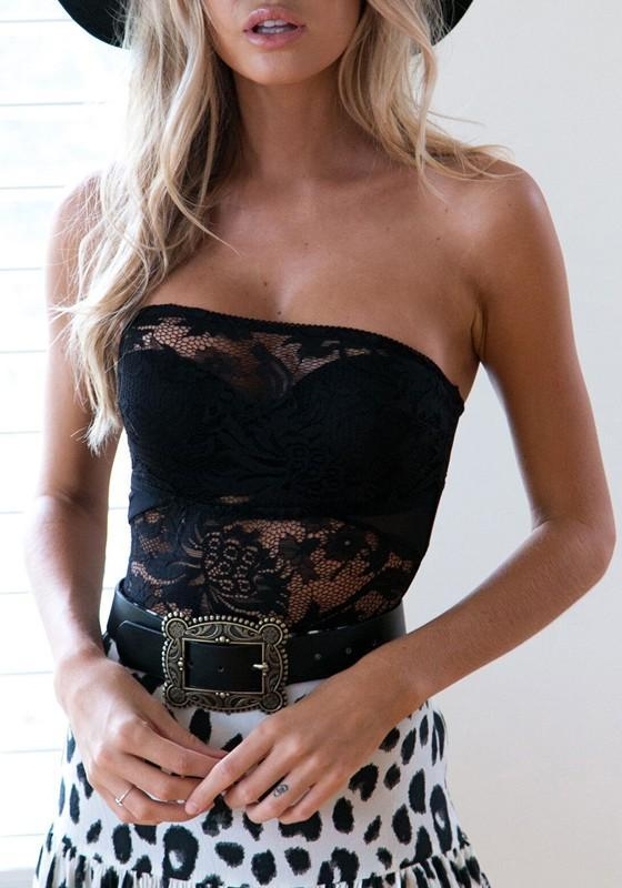 Black Floral Lace Hollow-out Bandeau Backless One Piece Swimwear