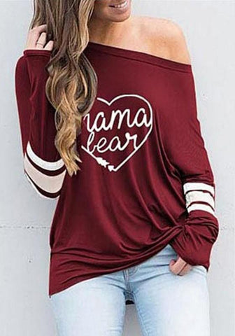 Red Love Letter Asymmetric Shoulder Long Sleeve Casual T-Shirt