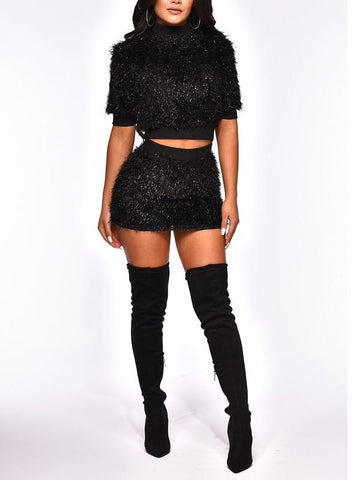New Black Fur Popcorn Two Piece Party Mini Dress