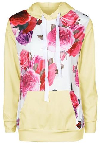 Khaki Floral Pockets Drawstring Hooded Long Sleeve Sweet Pullover Sweatshirt