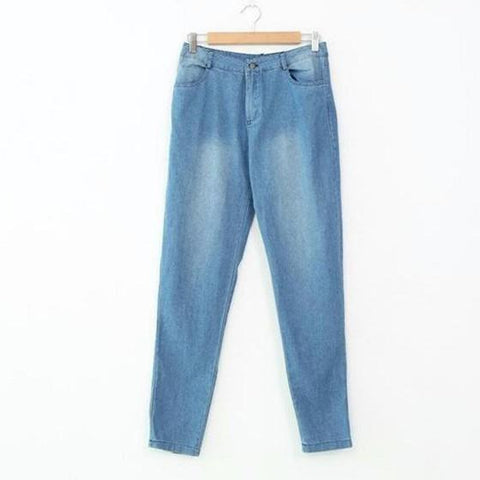 Blue Plain Zipper Pockets High Waisted Washed-out Style Skinny Pencil Jeans