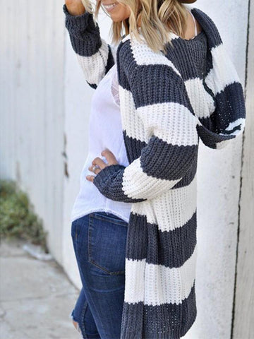New Dark Grey White Striped Hooded Long Sleeve Casual Cardigans Sweater