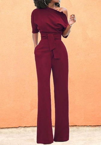 Date Red Asymmetric Shoulder Sashes Fashion Long Jumpsuit