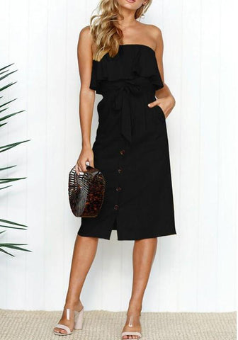 Black Pockets Sashes Buttons Ruffle Off Shoulder Backless Elegant Beach Party Midi Dress