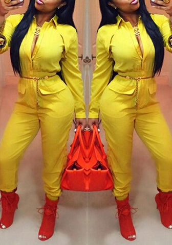 Yellow Plain Zipper Turndown Collar High Waisted Casual Long Jumpsuit
