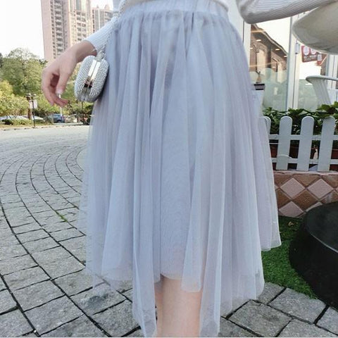 Grey Plain Grenadine Irregular Elastic Waist High Waisted Elegant Skirt