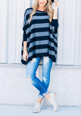 Black-Blue Striped Pattern Irregular Draped Round Neck Dolman Sleeve Casual Oversized T-Shirt