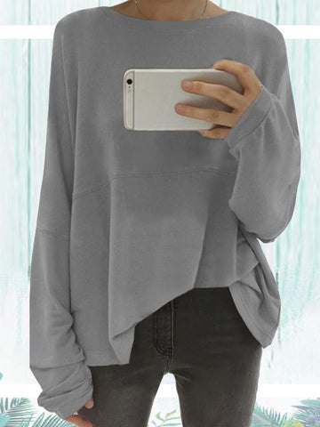 Grey Round Neck Long Sleeve Oversized Sweatshirt