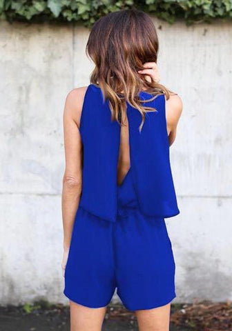 Sapphire Blue 2-in-1 Pockets Slit Sewing Mid-rise Short Jumpsuit