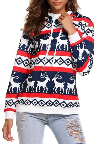 White Blue Deer Geometric Christmas Print Hooded Pullover Cute Sweatshirt