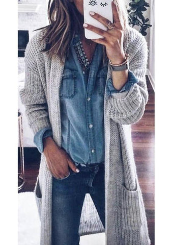Grey Patchwork Pockets Draped Long Sleeve Fashion Sweater Cardigan