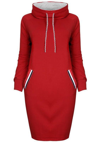 Red Pockets Drawstring High Neck Long Sleeve Fashion Midi Dress
