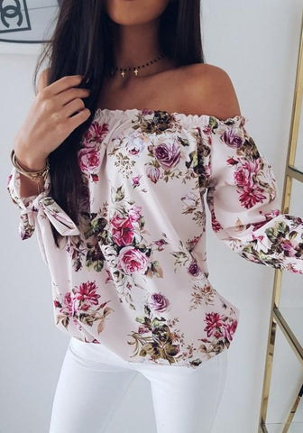 White Floral Ribbons Boat Neck Long Sleeve Fashion Blouse