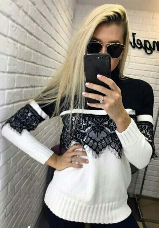 Black Patchwork Lace High Neck Long Sleeve Fashion Pullover Sweater