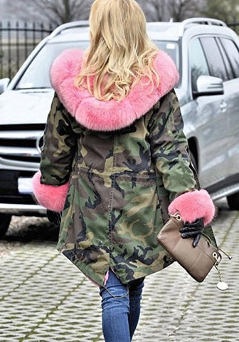 Army Green Camouflage Pockets Hooded Fur Collar Long Sleeve Fatigue Parka Coat