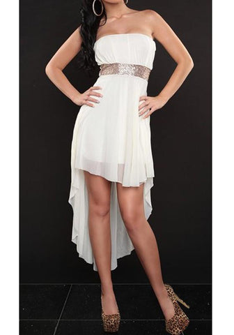 White Bandeau Irregular Draped Backless High-Low Homecoming Prom Party Midi Dress