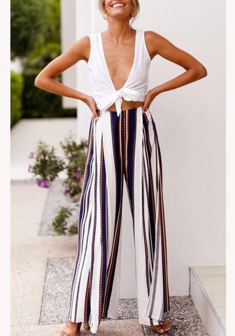 Blue Striped Cut Out Elastic Waist Casual Long Pants