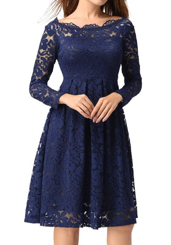 Sapphire Blue Patchwork Lace Pleated Long Sleeve Elegant Formal Midi Dress