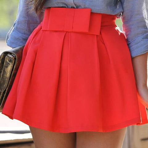 Red Pleated Bowknot High Waisted A-line Tutu Party Cute Skirt