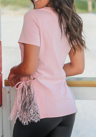 Pink Patchwork Lace Drawstring Round Neck Short Sleeve Casual T-Shirt