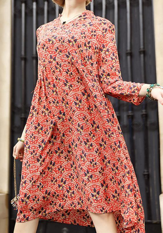 Red Colorful Bohemian Floral Print Draped Summer Beach Party Elegant Midi Dress