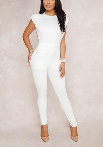 White Patchwork Backless Beading Chain Studded Zipper Fashion Party Long Jumpsuit