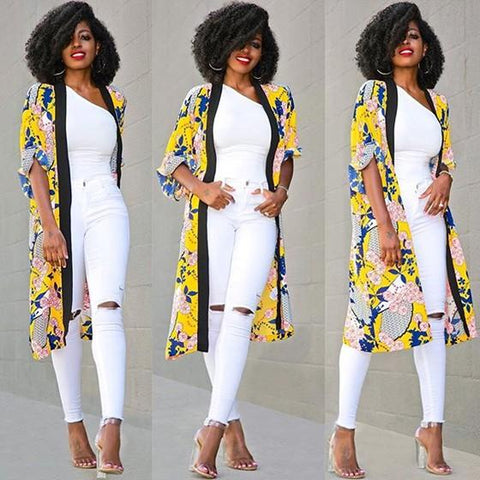 Yellow Floral Print No Button Casual Coat