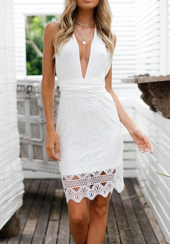White Patchwork Lace Bow Tie Back Deep V-neck Backless Midi Dress