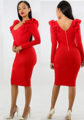 Red Ruffle Backless Bodycon Elegant Banquet Party Midi Dress