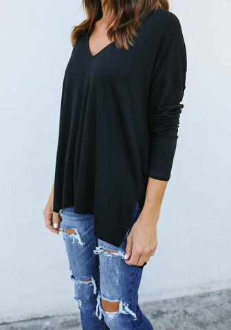 Black Draped Side Slit V-neck Casual Going out T-Shirt